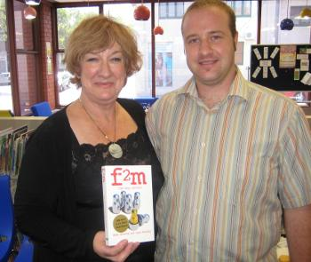 Hazel Edwards and Ryan Kennedy at the 'f2m' book launch